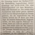 """RNZ-Artikel: """"RSV: Einheiten immer dienstag"""""""