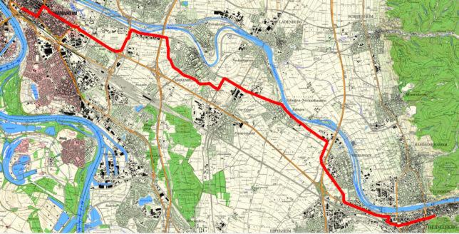 Streckenverlauf der Raddemo von Heidelberg nach Mannheim am 4. Juli 2021 organisiert durch u.A. den ADFC, RSV Heidelberg, GAL Heidelberg und AstA der Universität Mannheim